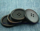 10pcs Large wooden buttons 35mm   in handmade elegant high-quality  brown mnk206
