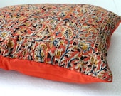 RESERVED for AMY kantha Pillow Floral Print in  Burnt Orange 16 x 16inches  kantha cushion covers