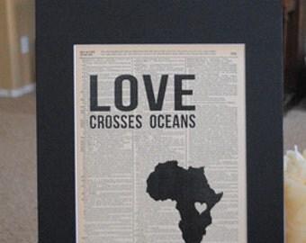 Love Crosses Oceans (Rwanda) - Vintage Adoption Word  Art