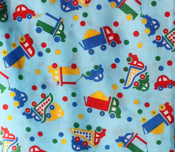 Vintage kids truck car cotton fabric boys blue fabric for Kids cotton fabric