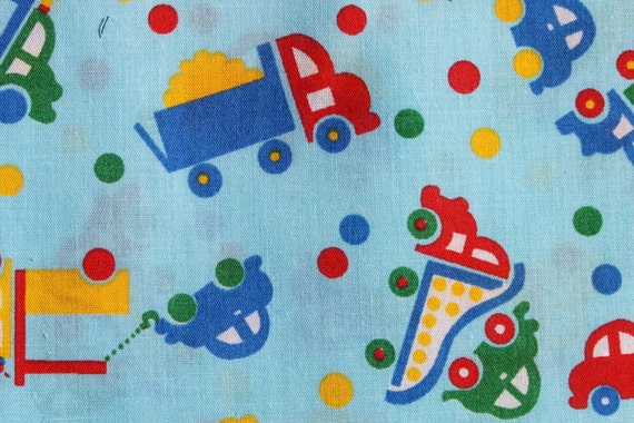 Vintage kids truck car cotton fabric boys blue fabric for Vintage childrens fabric by the yard