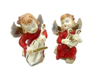 Pair of Angels Figurines with Musical Instruments