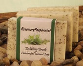Rosemary Peppermint energizing aromatherapy handmade all natural soap, rosemary and peppermint natural soap