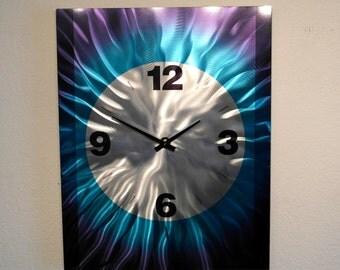 Metal Art Wall Aluminum Decor Abstract Contemporary Modern Sculpture Hanging - Large Wall Clock