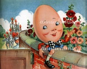 "Vintage Nursery Rhyme Print, 1940s  ""Humpty Dumpty""  Restored Art - Perfect Child's Room or Nursery Print - Perfect BabyGift  #97"