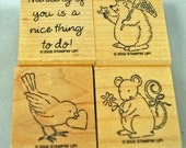 "STAMPIN UP Stamp Set - Rubber Stamps -   ""Cute Critters"" - Mint Unused 2002 Retired Set for Scrapbooking, Cardmaking, Collage Hard to Find"