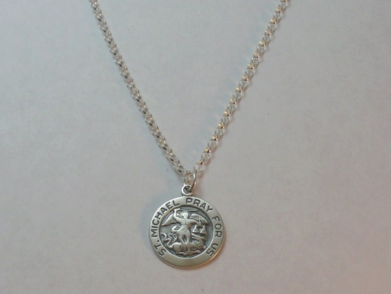 st michael pray for us charm pendant in sterling silver on a