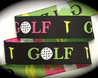 Pink and Green GOLF on Black Jacquard Ribbon - 1""