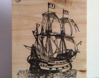 Sea love Wood printing.