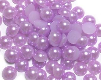 8mm 100pcs Flat Back Purple Pearls
