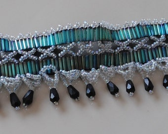 Turquoise and black drop choker (#1)