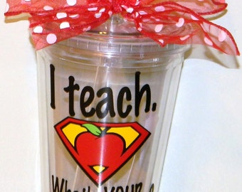 Personalized Teacher Gift - Teacher Gift - Teacher Appreciation Gift - Teacher Gifts - Teacher Superpower - Teacher Cups - Teacher Mugs