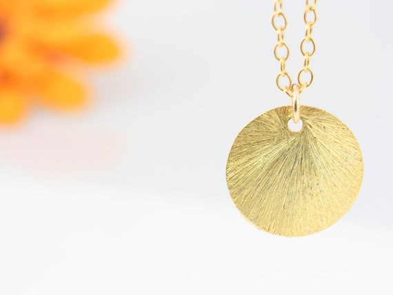 Gold Coin Necklace, 16k GOLD Over Sterling Silver Disc, Gold filled Chain, Reese Witherspoon's Necklace, drop necklace. Gold Necklace