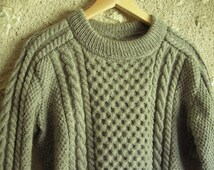 DREAMS of ARAN - Hand Knit Male Aran Sweater - Pure new wool - Size M - other sizes and colors made to order - free shipping worldwide