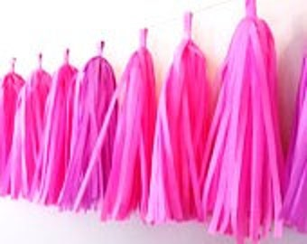 Tissue Paper Tassel Garland - Baptism/Girl Baby Shower/Birthdays Decor/Receptions