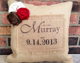 Custom Burlap Wedding Pillow