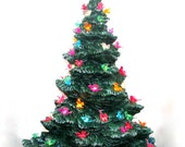 Medium, Modern Ceramic Christmas Pine Tree -13.00 inches tall with base and star, hand painted pine tree with light kit