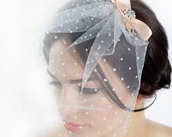 Francine - 50's Polka Bow Blusher Veil