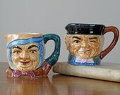 SALE 1950s Character Mug Set of 2 / Toby Style Mugs