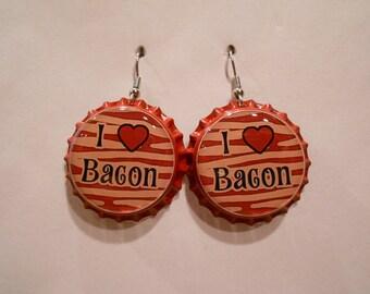 I Love Bacon bottle cap earrings
