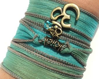 Namaste Silk Wrap Bracelet Yoga Jewelry Green Aqua Blue Om Bohemian Meditation Upper Arm Band Unique Gift For Her Under 50 Item S32