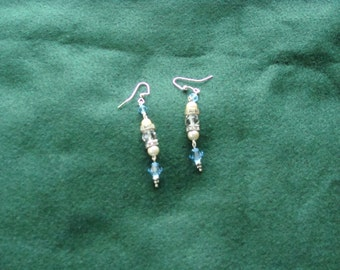 icy blue crystal drop earrings with faux pearl clear crystals