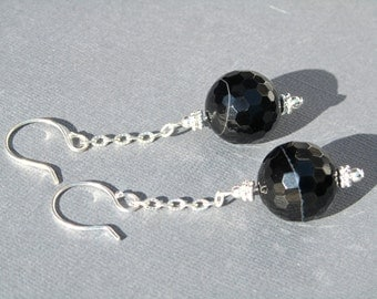Onyx Statement Earrings, Faceted Black Onyx, Black Stone Earrings, Natural Stone, Sterling Silver, Long Dangle, Sparkly  454