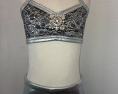 Silver Sequined Lace Convertible High Waist Shorts With Shiny SIlver Waist and Matching Silver Sequined Lace Halter Bra
