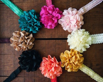 Ema Jane - Fancy Boutique Eyelet Laced Flowers Glued to Lace Headbands (8 Pack)