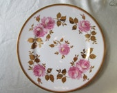Antique 1900 Limoges Hand Decorated Pink Roses with Gilt Leaves onPorcelain Dessert Plate.Christmas Gift,Wedding Gift,Housewarming Gift