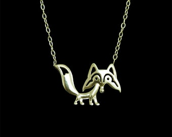 Fox jewelry - gold pendant and necklace.