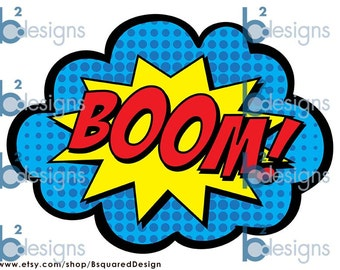 Superhero Signs • Boom, Pow, Zap, Bam, Pop • 8.5 x 11 • PRINTED