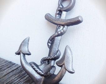 BOLD metallic silver NAUTICAL anchor hook // wall coat hook // sailor beach house decor // cast iron