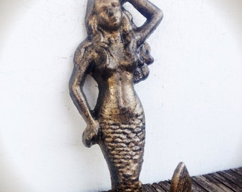 BOLD antiqued gold bronze MERMAID towel hook // wall hook // nautical bathroom bedroom decor // shabby CHIC