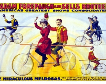 Forepaugh and Sells Circus - High Wire Bicycle Act - Digitally Remastered Vintage Fine Art Print / Poster