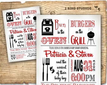 Baby shower invitation - boy baby shower BBQ barbecue invite- DIY baby q barbecue couples shower printable invite