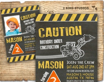 Construction invitation in chalkboard - optional construction birthday party decorations - DIY printable invitation for construction party