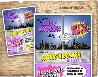 Superhero baby shower invitation - Superhero invitation - girl baby shower invite- couples shower - super hero coed baby shower