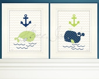 Instant printable Art to download: 8x10 Pair of adorable whales