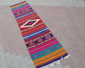 "Turkish Runners Handwoven Kilim Traditional Wool Rug Carpet 22.5"" x 105.5"" inches"