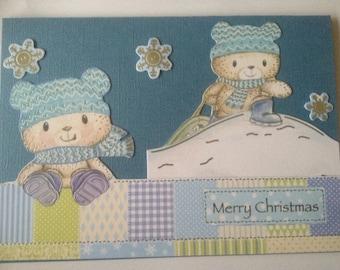 Teddy bear victorian card, Christmas card, glitter card, merry Christmas card, 3 D card, decoupage card
