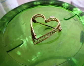 Vintage 12K Gold Filled Heart Brooch, Bridal, Wedding, Engagement, Valentine's Day, Birthday or Bouquet Brooch, Mother's Day Gift