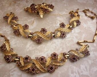 SALE Vintage Coro Purple Lavender Gold Tone Branch Demi Parure; Designer Coro Necklace, Bracelet, Brooch, Holiday Jewelry Set
