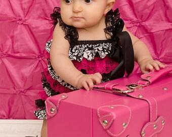 Hot Pink Glitter headband- lace headband- newborn headband- infant headband- baby headband- Photo Prop