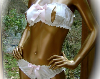 """The """"Scanties"""" Collection Bra and Panty Set in Natural White Silk Charmeuse"""