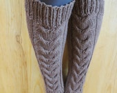 Handknit  cable women woollen leg warmers brown
