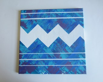 """original art chevron oil painting blue turquoise purple and white 12""""x12"""" modern abstract"""