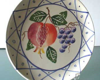 Made in Italy Ceramic Plate With Grape Pomegranate Design
