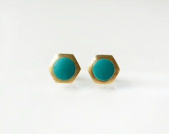 Green geometric hexagon circle stud earring -Small-