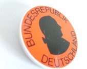 Vintage German badge, GDR (Germany) red badge, Deutschland Republic plastic badge